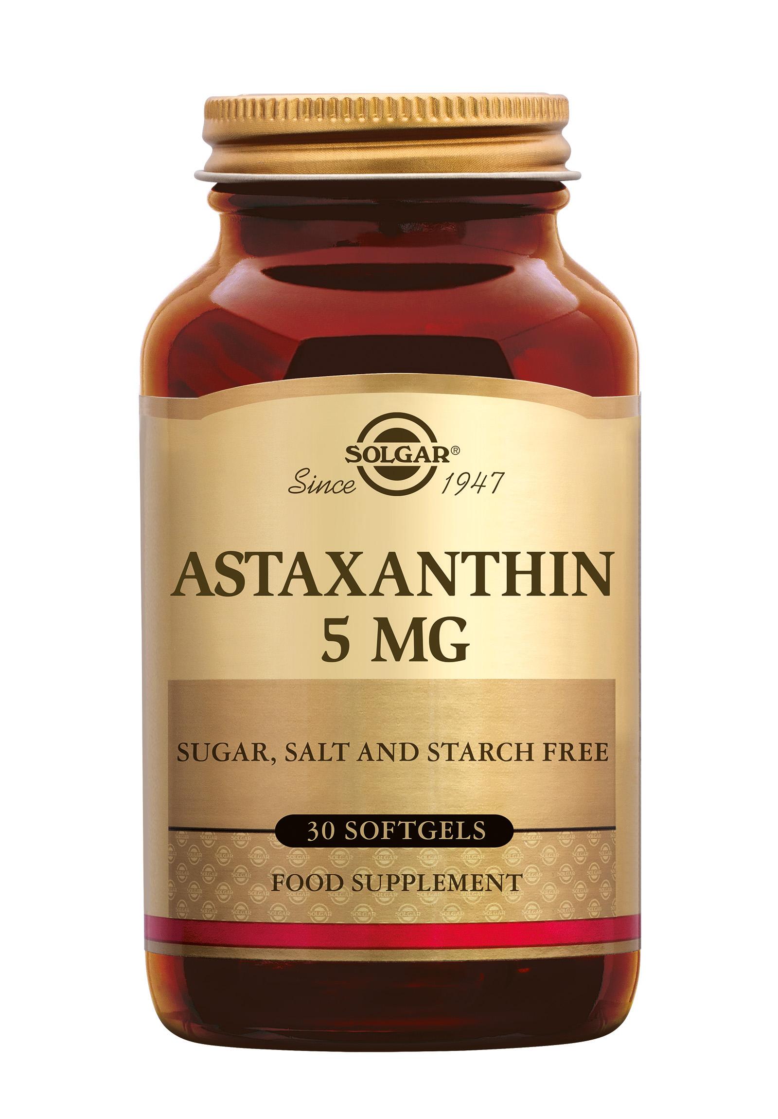 Astaxanthin 5 mg, Solgar, Solgar Astaxanthin 5 mg wordt gewonnen uit de alg Haematococcus pluvialis. Deze alg geldt als de rijkste bron van deze carotenoïde, die verantwoordelijk is voor de roze-oranje kleur van onder andere zalm, roodbaars, forel en de veren van flamingo's. Astax