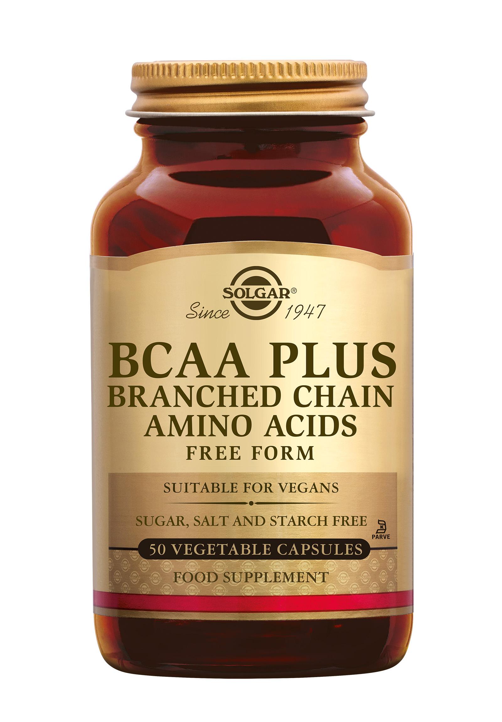 BCAA Plus, Solgar, Solgar BCAA Plus wordt vaak gebruikt door sporters. Het bevat ?branched chain amino acids', oftewel aminozuren met vertakte ketens (leucine, isoleucine en valine). Deze vormen ongeveer 35% van de aminozuren van spierweefsel.