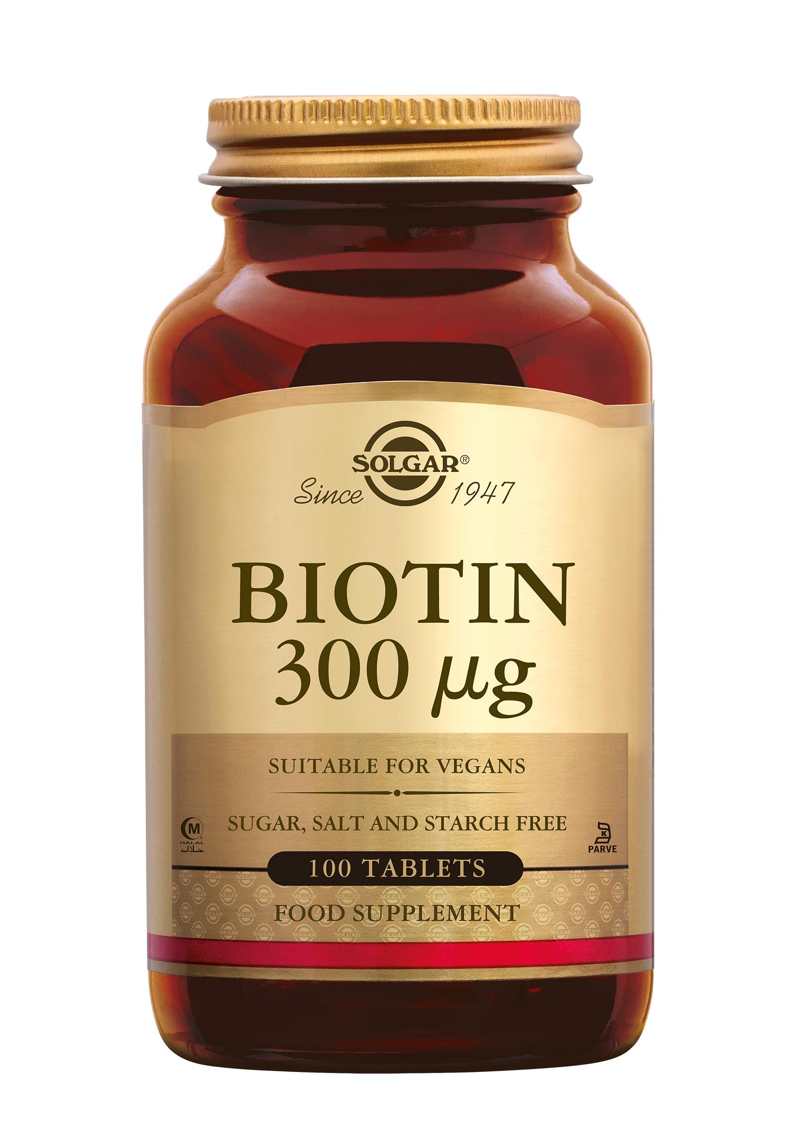 Biotin 300 µg, Solgar, Solgar Biotin 300 µg draagt bij aan de normale haargroei, houdt het haar sterk en draagt bij aan het behoud van een normale huid.