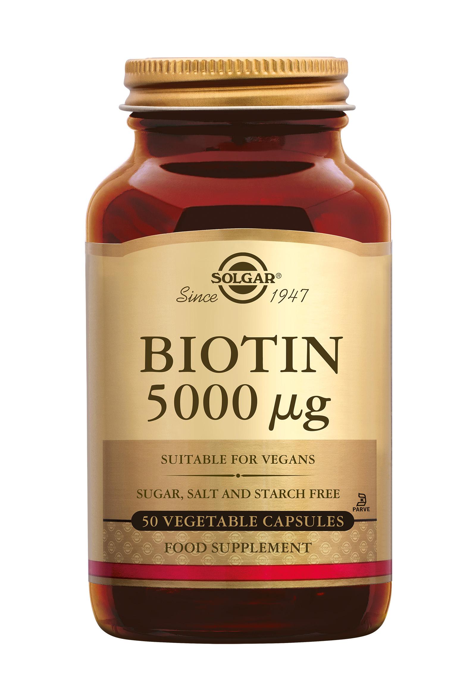 Biotin 5000 µg, Solgar, Solgar Biotin 5000 µg draagt bij aan de normale haargroei, houdt het haar sterk en stimuleert het behoud van een normale huid.