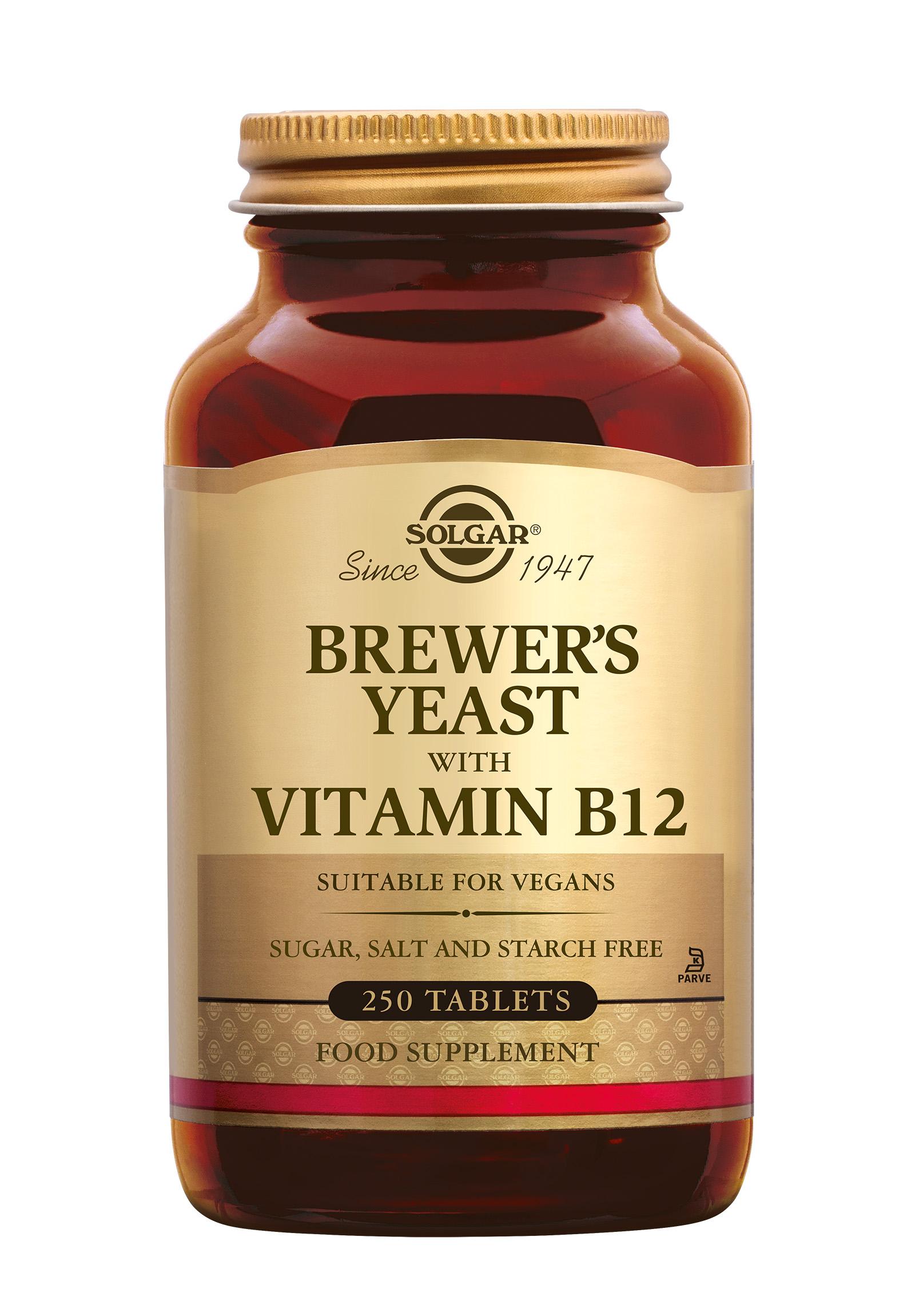 Brewer's Yeast, Solgar, Solgar Brewer's Yeast (biergist, Saccharomyces cerevisiae) is verrijkt met vitamine B-12.