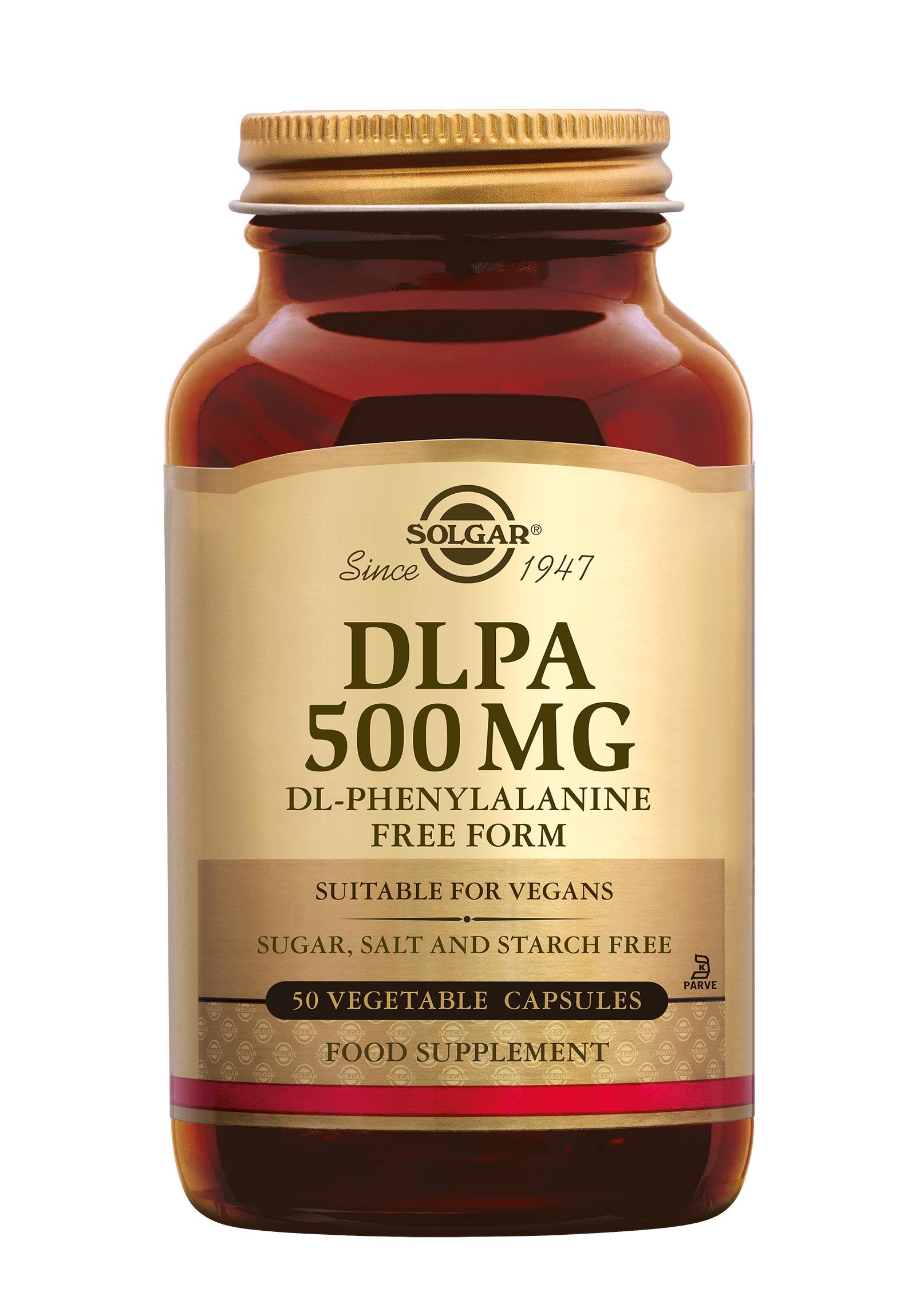 DLPA, Solgar, Solgar DLPA bevat 250 mg D-Fenylalanine en 250 mg L-Fenylalanine per capsule.