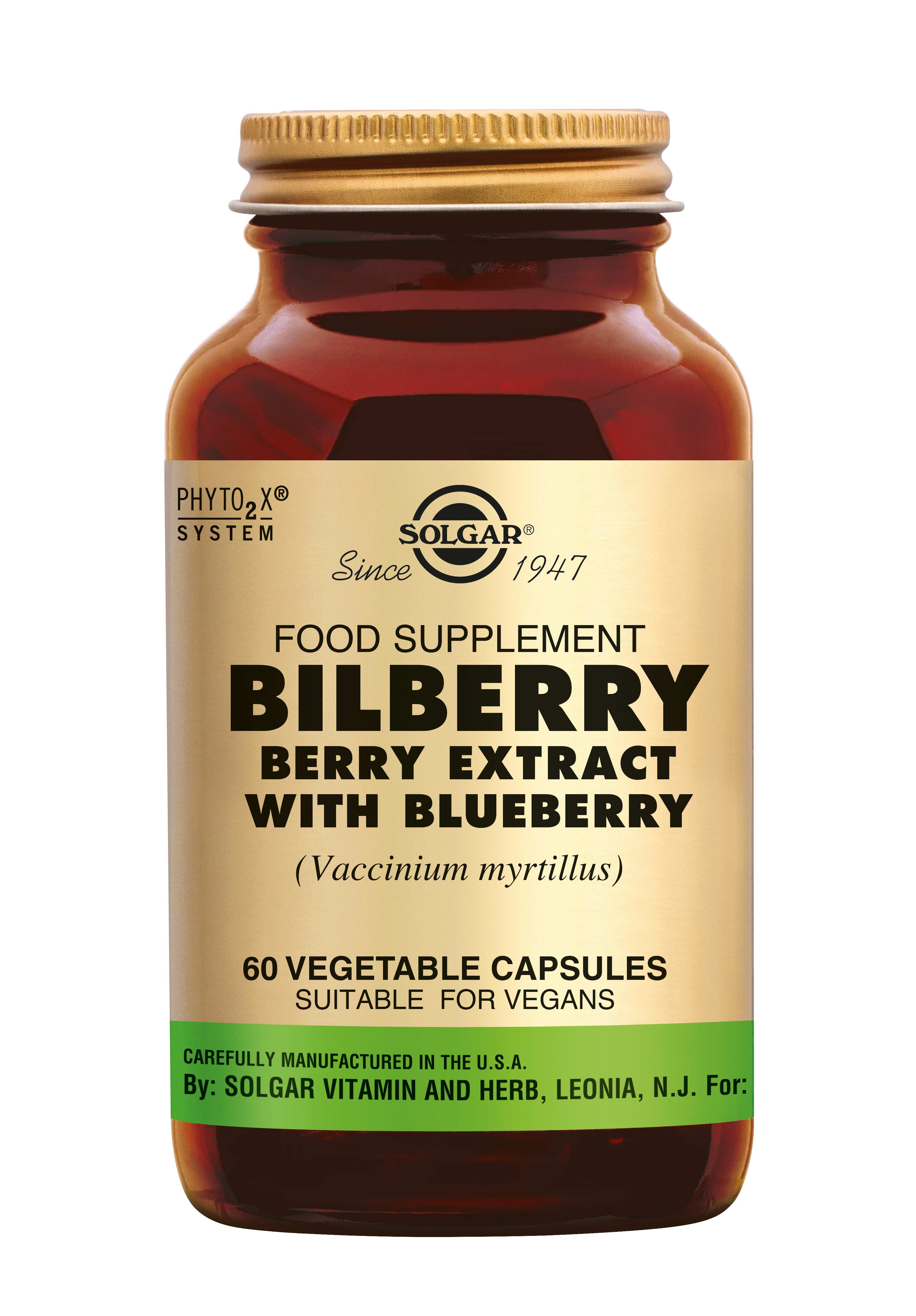 Bilberry Berry Extract, Solgar, Solgar Bilberry Berry Extract (Bosbes, Vaccinium myrtillus) is goed voor het bindweefsel en de kleine bloedvaatjes in het oog.