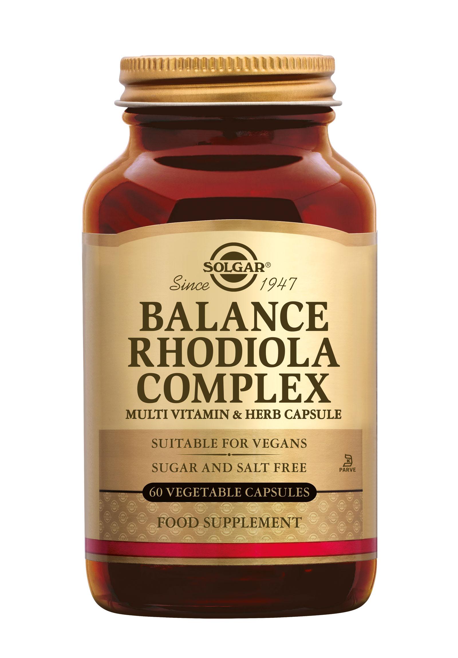 Balance Rhodiola Complex, Solgar, Solgar Balance Rhodiola Complex wordt gebruikt bij geestelijke druk en spanning (Rhodiola, Zoethoutwortel en Siberische ginseng) en ondersteunt het energie niveau (magnesium, vitamine B-3, B-5, B-6).